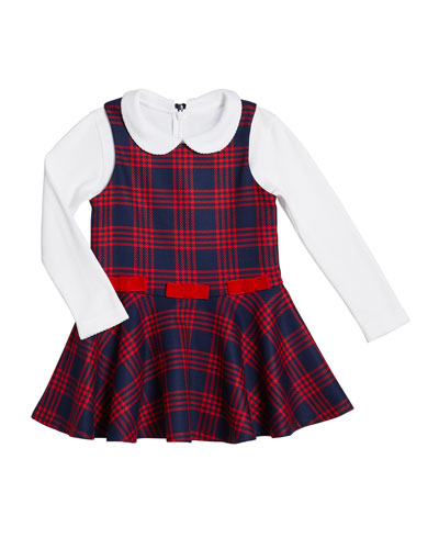 Plaid Bow Jumper w/ Knit Blouse, Size 2-6X