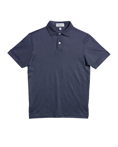 Boy's Micro Polka-Dot Short-Sleeve Polo Shirt  Size XS-XL