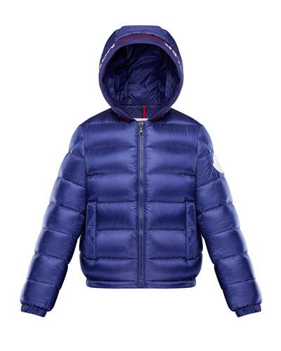 Basslong Season Quilted Logo-Trim Hooded Puffer Jacket  Size 4-6