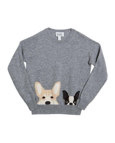 Autumn Cashmere Corgi & Terrier Drop-Shoulder Sweater, Size 8-16