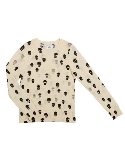 Two-Tone Skull Print Sweater  Size 8-16