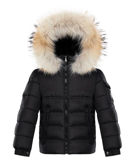 Moncler Boy's New Byron Hooded Jacket w/ Fox Fur Trim, Size 8-14