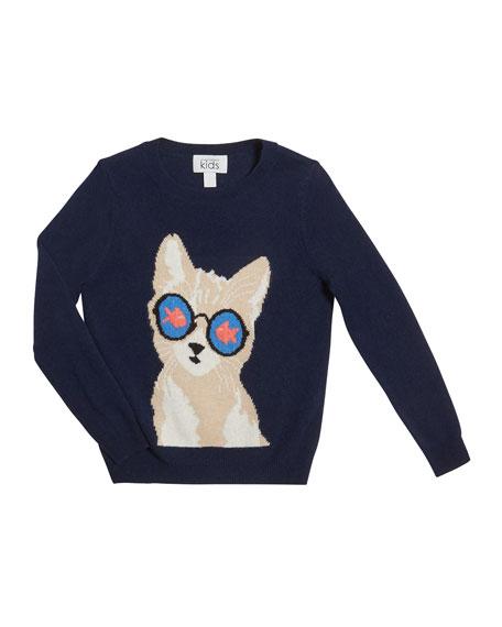 Autumn Cashmere Goldfish Eye Cat Sweater, Size 8-16