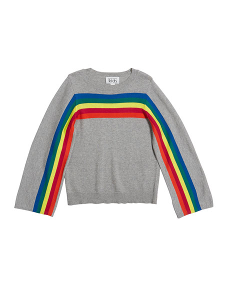Autumn Cashmere Rainbow Stripe Cotton Sweater, Size 8-16