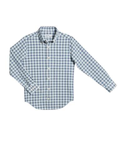Boy's Gingham Button-Down Shirt  Size XS-XL