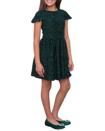 Boucle Sparkle Ruffle Cuff Dress  Size 10-16