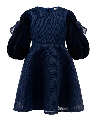 Velvet Bow Sleeve Dress  Size 4-8