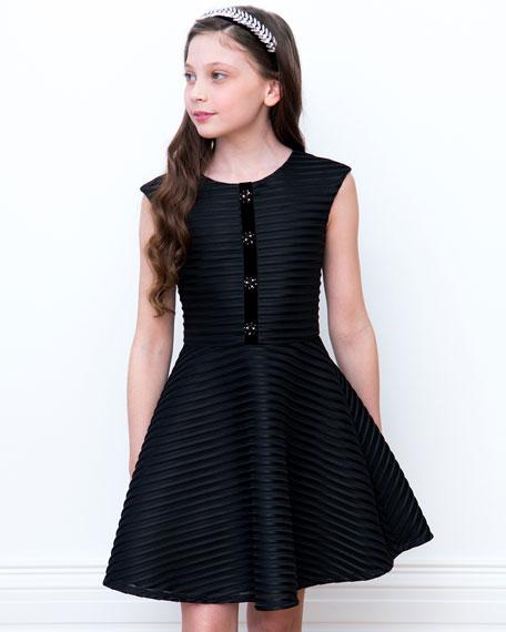 David Charles Shadow Stripe Sleeveless Dress, Size 10-16