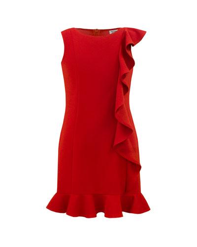 Girl's Waterfall Ruffle Sleeveless Dress, Size 10-16