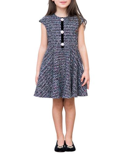 Multi-Tweed Cap-Sleeve Dress  Size 4-8