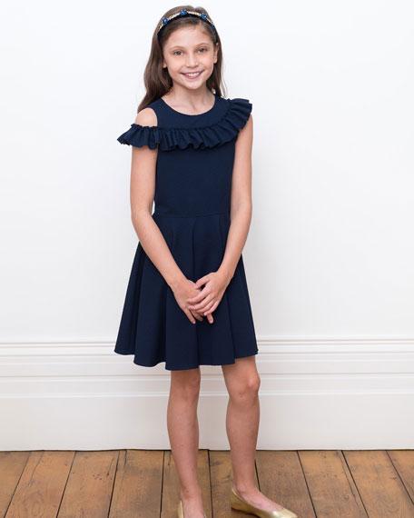 David Charles Asymmetric Ruffle One-Shoulder Knit Dress, Size 10-16