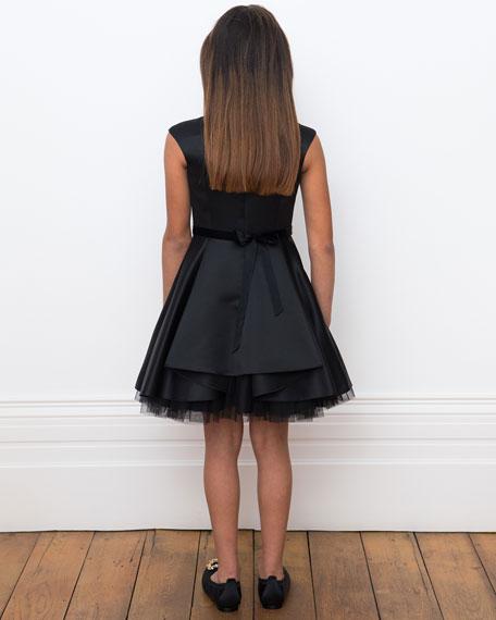 David Charles Satin Dress w/ Gold Heart Trim, Size 10-16