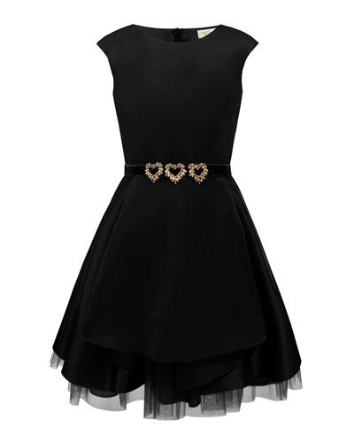 Satin Dress w/ Gold Heart Trim  Size 10-16
