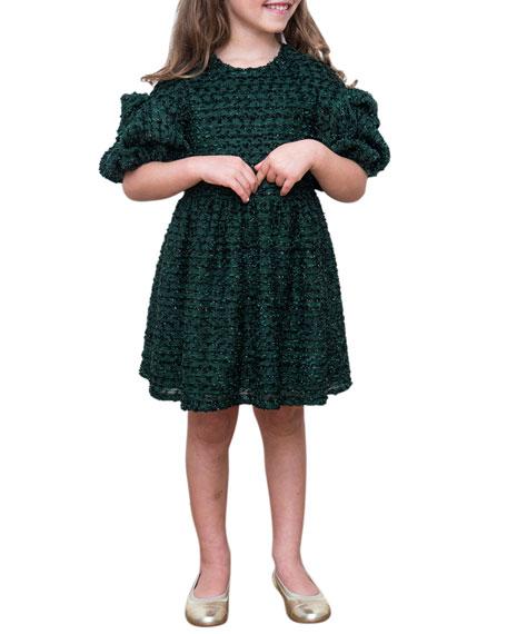 David Charles Boucle Sparkle Puffy Sleeve Dress, Size 4-8