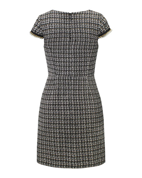 David Charles Tweed Faux Pearl Trim Dress, Size 10-16