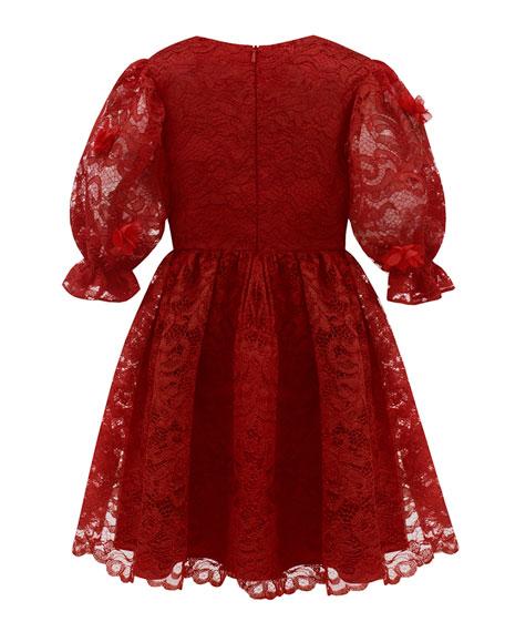 David Charles Puffy Sleeve Lace Dress, Size 4-8