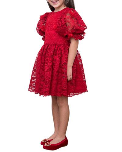 Puffy Sleeve Lace Dress  Size 4-8