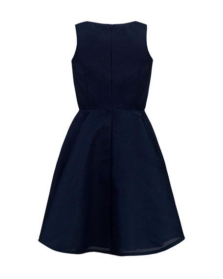 David Charles Girl's Stripe Neoprene Sleeveless Dress, Size 10-16
