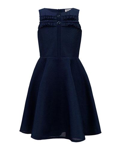 Girl's Stripe Neoprene Sleeveless Dress  Size 10-16