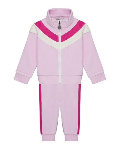 Velour Chevron-Trim Jacket w/ Matching Pants  Size 12M-3