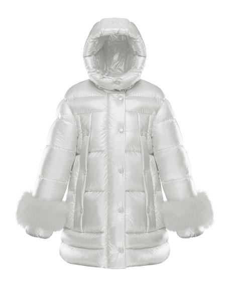 Moncler Girl's Brionnais Quilted Long Coat w/ Fur Trim, Size 8-14