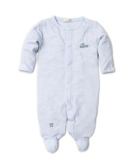Kissy Kissy Premier Choo Choo Striped & Embroidery Footie Playsuit, Size Newborn-9 Months