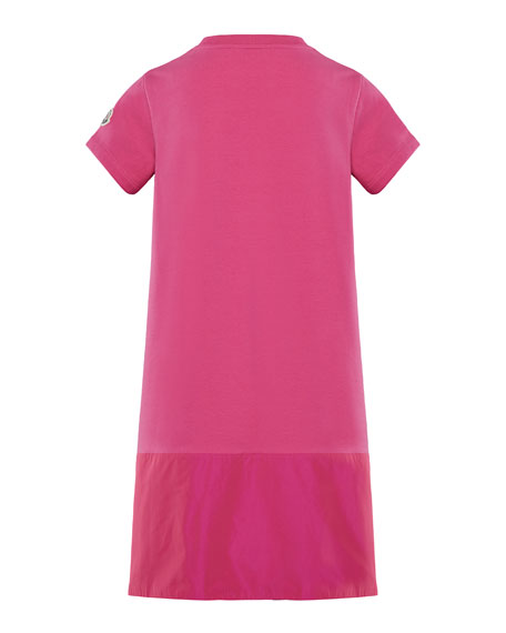 Moncler Short-Sleeve A-Line Dress w/ Side Logo Embroidery, Size 4-6