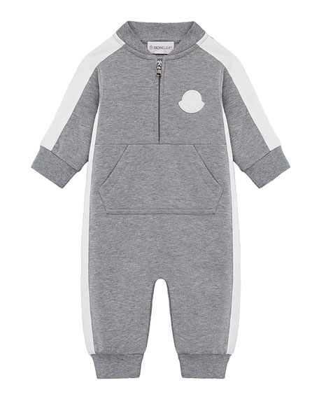 Moncler Heathered Coverall w/ Contrast Trim, Size 3-24 Months