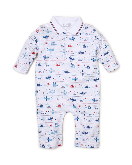 Kissy Kissy Sky Riding Collared Coverall, Size 3-24 Months