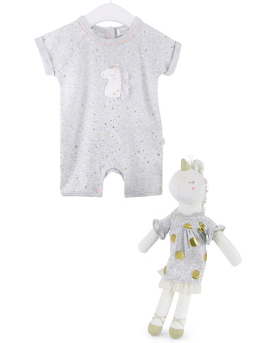 Uma Sparkle Unicorn Romper and Doll Set  Size 0-12 Months