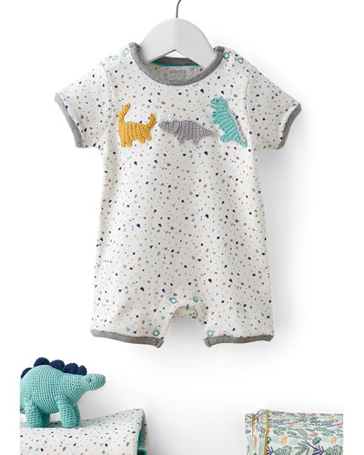 Speckled Dino Shortall w/ Rattle  Size 0-12 Months