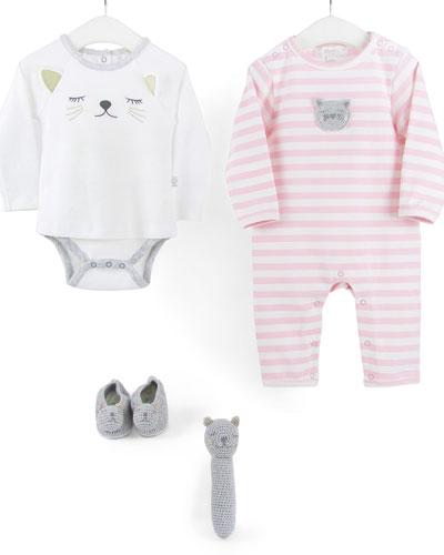 Striped Cat Romper, Bootie & Rattle Set, Size 0-12 Months