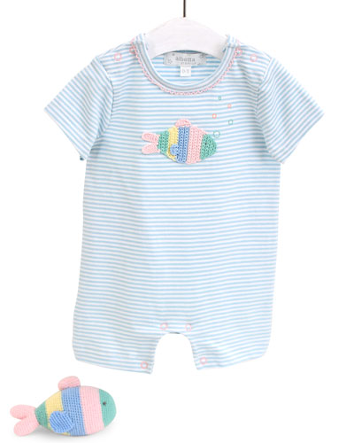 Rainbow Fish Romper & Rattle Set  Size 0-12 Months