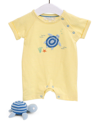 Sea Turtle Romper & Rattle Set  Size 0-12 Months