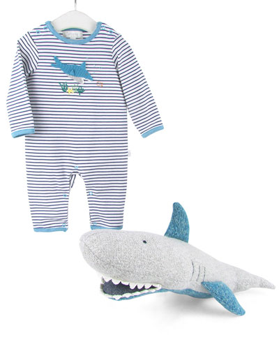 Sharky Romper & Doll Set  Size 0-12 Months