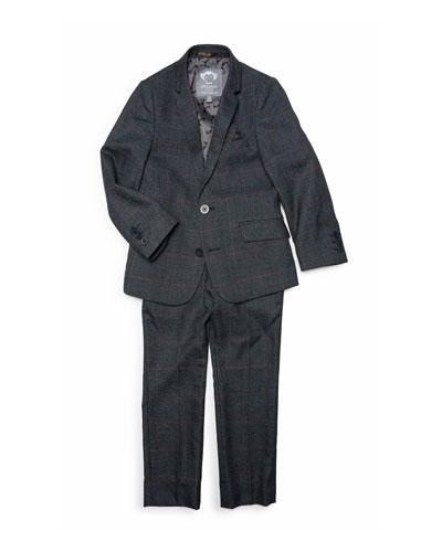 Boys' Windowpane Plaid Two-Piece Mod Suit  2-14