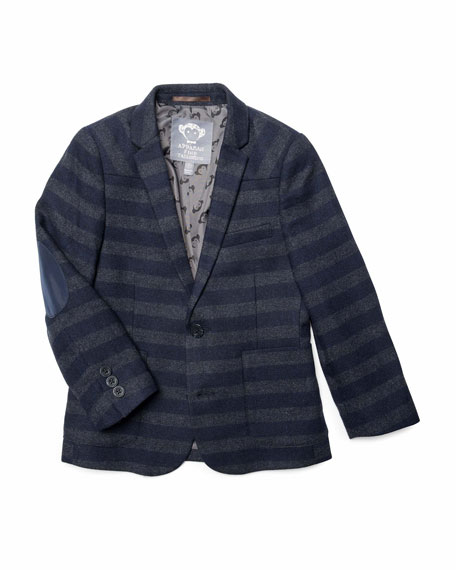 Appaman Boy's Striped Professor Blazer w/ Elbow Patches, Size 2-14