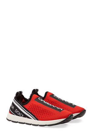 Dolce & Gabbana Maglina Slip-On Knit Logo-Patch Sneakers, Toddler