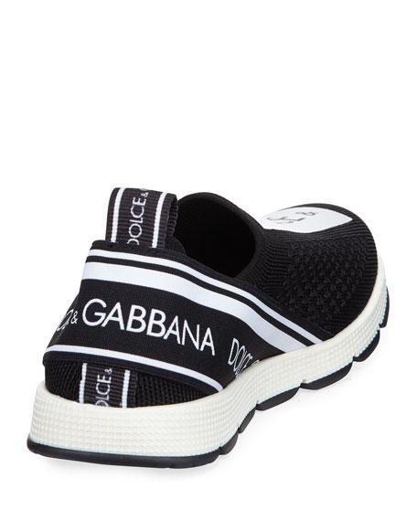 Dolce & Gabbana Slip-On Knit Logo Patch Sneakers, Kids