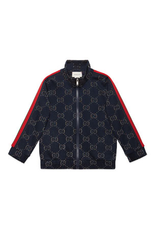 Gucci Metallic GG Jacquard Jacket w/ Web Trim Sleeves, Size 4-12