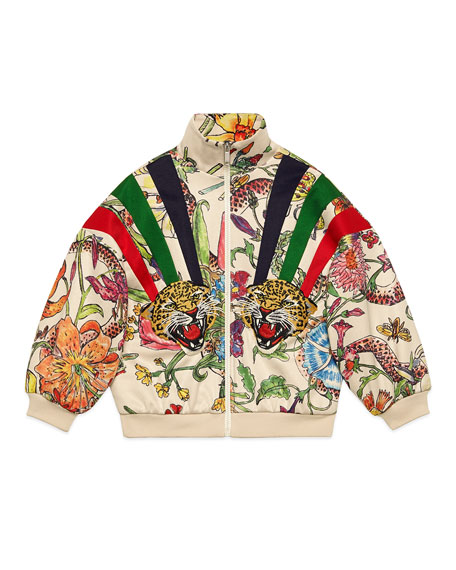 Gucci Floral Zip-Up Sweatshirt w/ Stripes & Tiger Patches, Size 4-12