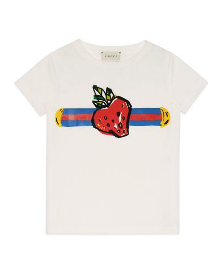 Gucci Strawberry Logo Jersey Tee, Size 4-12