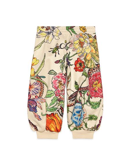 Gucci Multi Floral Print Jogger Pants, Size 4-12