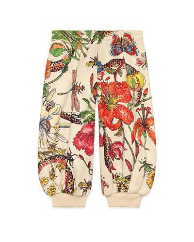 Multi Floral Print Jogger Pants  Size 4-12