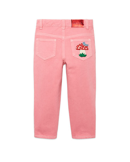Gucci Washed Solid Pants w/ Mushroom Patch, Size 4-12