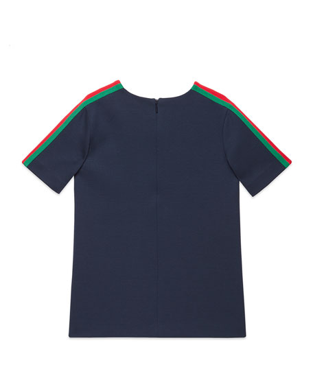 Gucci Short-Sleeve Jersey T-Shirt w/ Web Trim Sleeves, Size 4-12