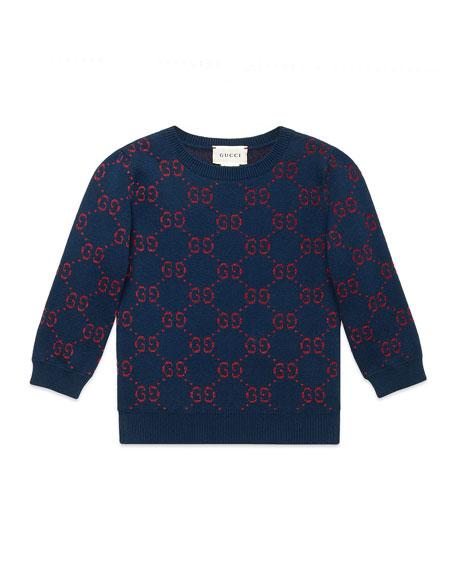 Gucci Girls' GG Printed 3/4-Sleeve Crewneck Sweater, Size 4-12