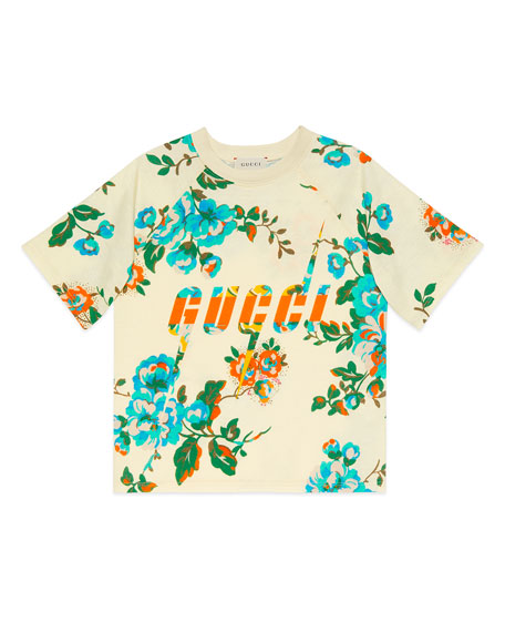 Gucci Floral-Print Logo Short-Sleeve Tee, Size 4-12