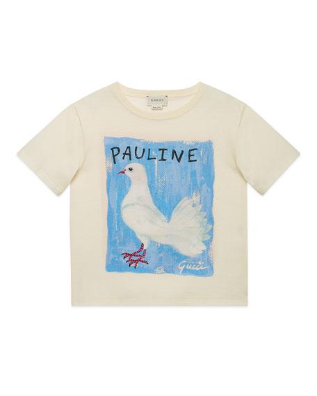 Gucci Pauline Dove & Rudy Guinea Pig Jersey Tee, Size 4-12