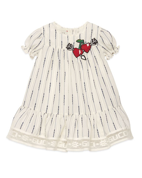 Gucci Logo Jacquard Puffy-Sleeve Dress w/ Cherries Embroidery, Size 12-36 Months